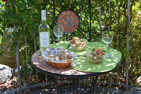 sedací souprava, zahradní nábytek, Zátiší, zahradní stůl, piknik, jídlo a pití, den