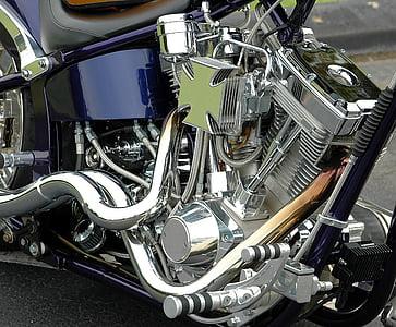 motocicleta, motor, Chrome, lucios, elicopter, transport, motor