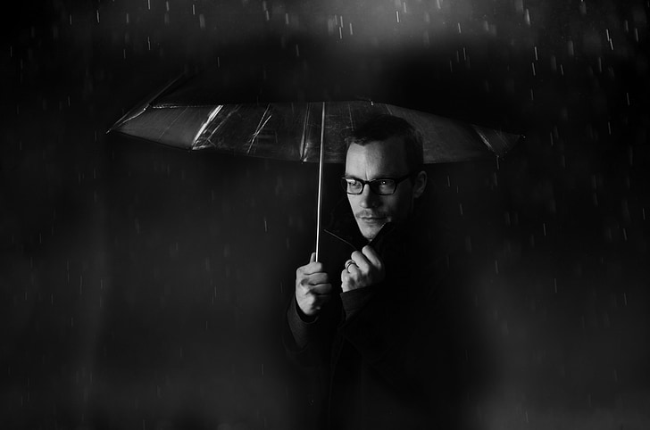man, people, umbrella, rain, weather, night, dark