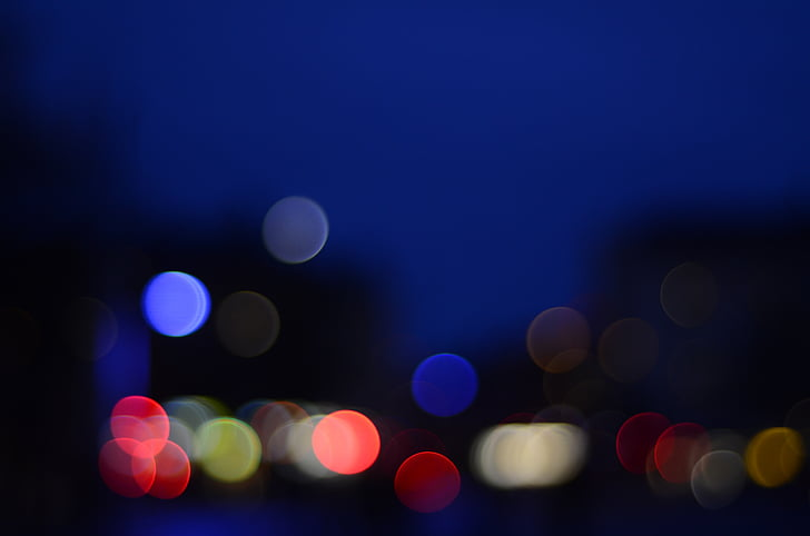 background, night, bokeh, blue, city, himmel, blur
