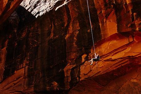 mountain climber, mountain climbing, mountains, person, rock climbing, rocky, cave