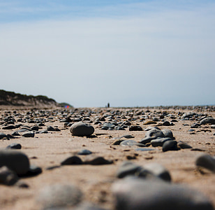 pludmale, vasaras, jūra, Ziemeļjūras, akmeņi, plats, Zen