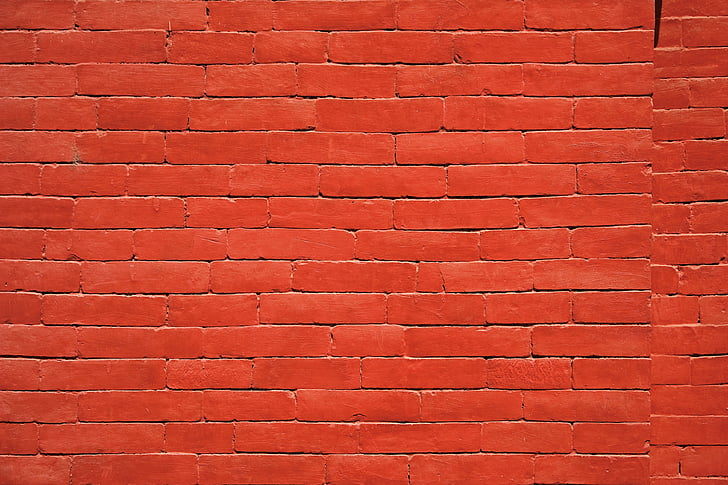 punane, tellistest, tekstuur, seina, maja, telliskivisein, arhitektuur