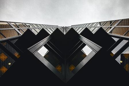 black, wooden, frames, glass, architecture, building exterior, sky