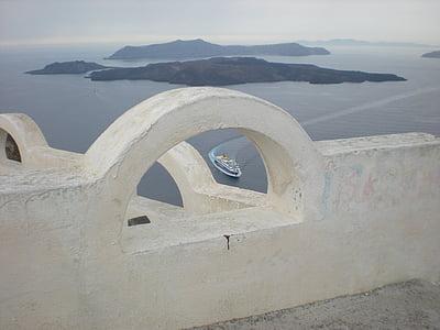 Santorini, Grčki otok, Grčka, marinac, Caldera, brod, brodovi