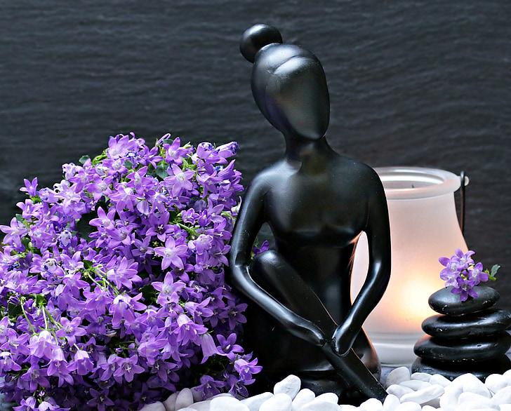 femme, sculpture, Figure, statue de, belle femme, fleurs, Purple