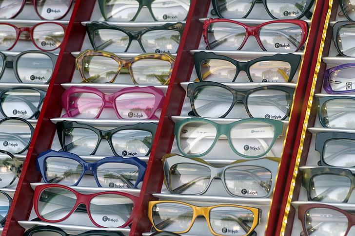 ulleres, exposició, òptica, lents, botiga, comprar, vista
