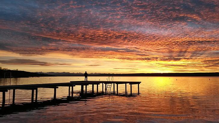 Ammersee, solnedgång, Tyskland, Bayern, havet, naturen, skymning
