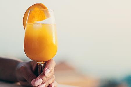 饮料, 鸡尾酒, 饮料, 玻璃, 桔子汁, 人类的手