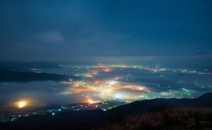 vista di notte, Aso, notte, mare di nubi, Giappone, Kumamoto