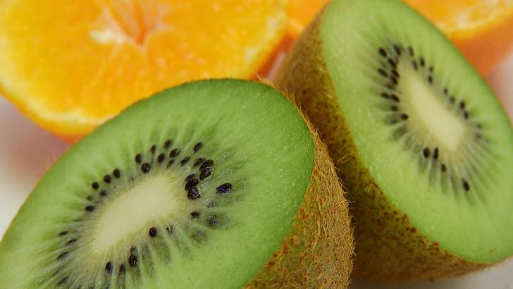 Kiwi, frugt, detaljer, fosteret, orange