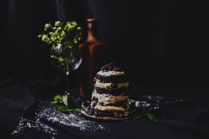 jedlo, dezert, torta, poleva, tmavé, Zelená, listy