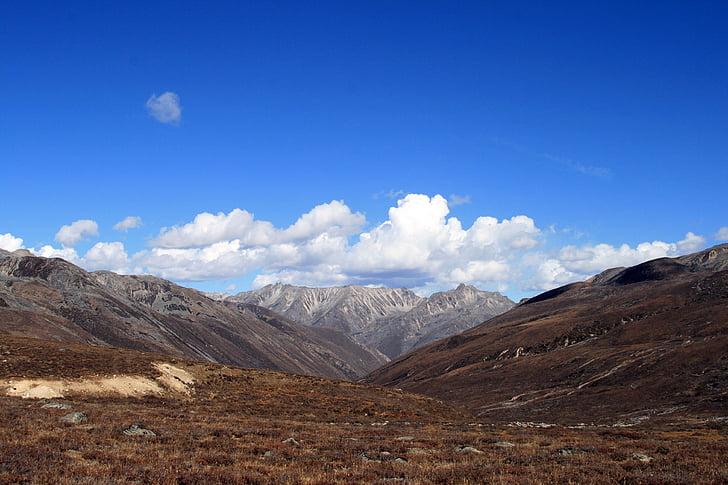 Sichuan, Vasili kandinsky, altiplà, cel blau, sichuan occidental, núvol blanc, muntanya