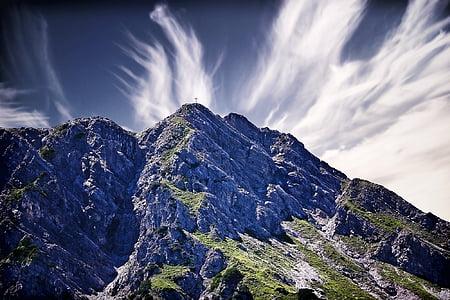 조 경, 산, 산 봉우리, outlook, 스카이, 구름, 교차 정상