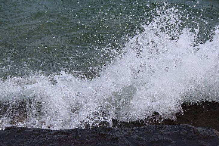 hullám, víz, spray, tó, viharos, parti kövek, Bodeni-tó
