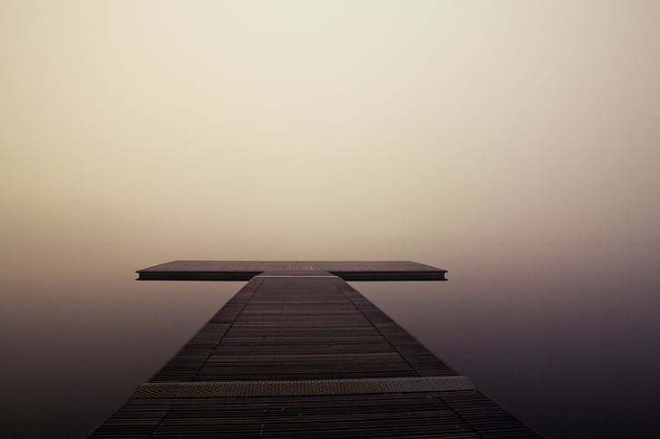 pier, wooden, lake, ocean, sea, quiet, fog