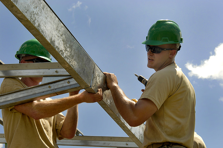 construction, worker, building, installing, fascia, site, industry