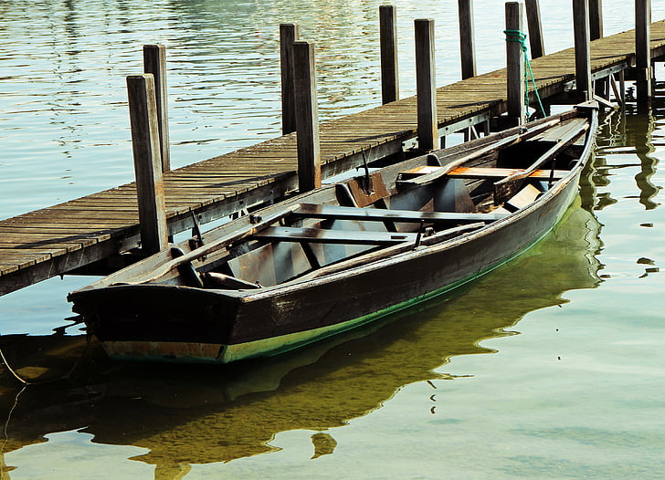 rowing boat, boardwalk, jetty, boot, individually, wood, calm