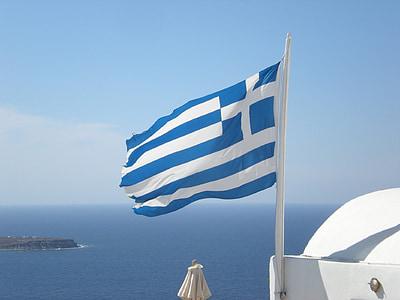 Santorini, Grčki otok, Grčka, marinac, Zastava, Oia