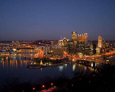 Pittsburgh, Centre, nit, riu, ponts, capvespre, crepuscle