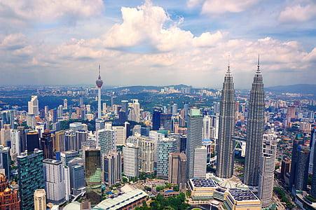 city, skyline, buildings, urban, cityscape, malaysia, kuala lumpur