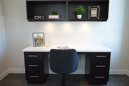 home office, chair, desk, workspace, workstation, furniture, interior