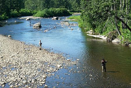 river, fishing, man, fisherman, anchor river, alaska, catch