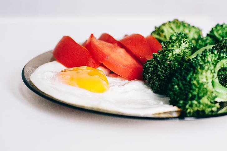 ous, bròquil, tomàquets, esmorzar, aliments, Sa, àpat