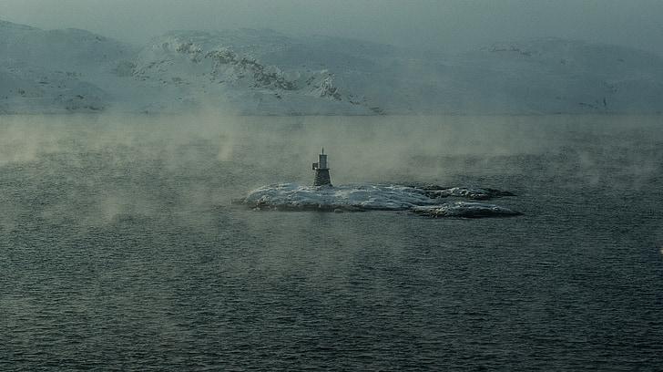 Noruega, Kirkenes, Lapònia, fiord, Far, oceà Àrtic, boira