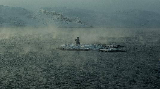 Norge, Kirkenes, Lappland, fjorden, Lighthouse, Artic ocean, dimma