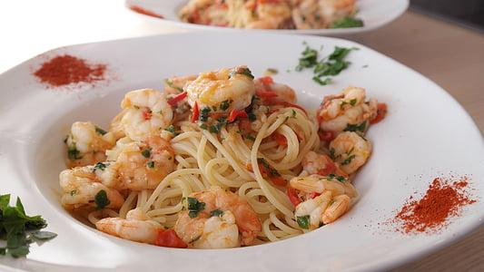 Espaguetis, pastes, fideus, aliments, menjar, cuinar, placa