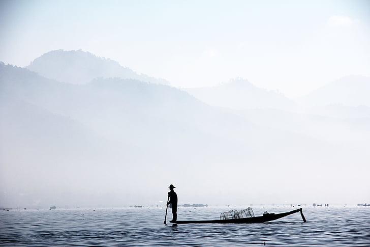 Fischer, vienos kojos fischer, Mianmaras, Inle, sūrymas, inlesee, žuvis