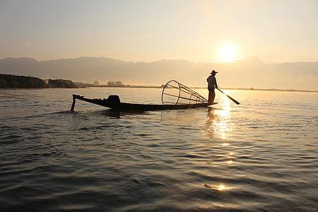 boat, fisherman, fishing, lake, man, nature, person