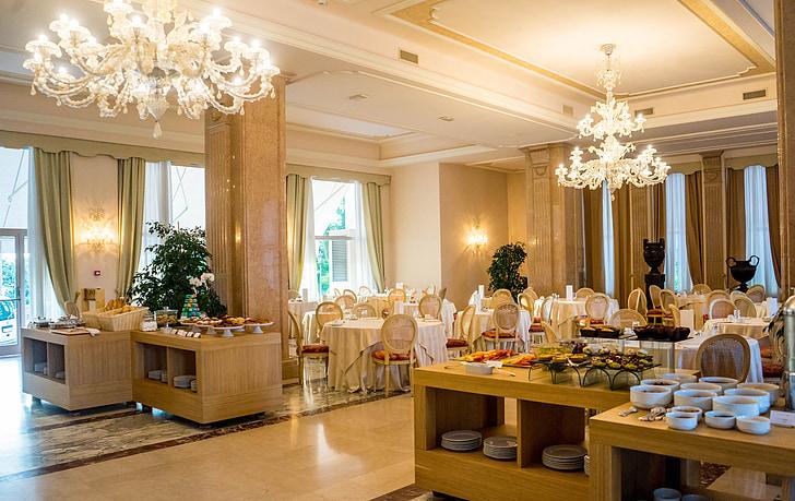 Viešbutis, elegantiškas, pusryčiai, prabanga, dizainas, dekoro, Prabangus viešbutis