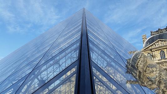muuseum, Louvre, püramiid, Pariis, klaas, taevas, sinine