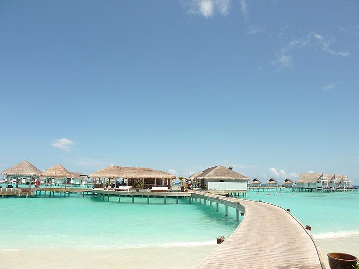 Maldivler, seyahat, Resort, ada, su üzerinde, rota, Pier
