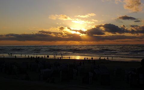 비치, 일몰, 노르 데 메이, 바다, 태양, 북 해, 구름