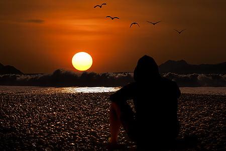 Захід сонця, вечірнє небо, пляж, фоновому режимі, тло робочого стола, післясвічення, abendstimmung