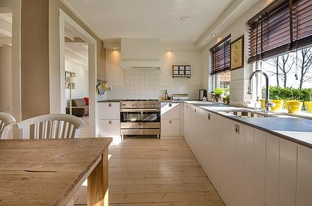 cuina, casa, casa, interior, moderna, sala, pis