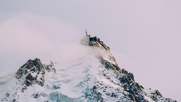 fred, boira, alta, muntanya, cim de la muntanya, a l'exterior, neu