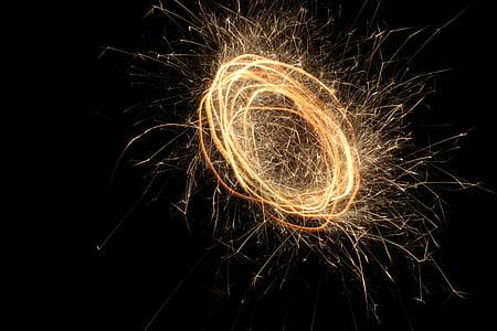 éjszaka, tűzijáték, Fesztivál, esemény, ünnepe, színes, fény