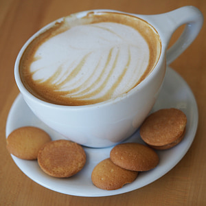 latte, coffee, cup, cookies, saucer, drink, beverage