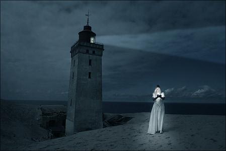 lighthouse, girl, woman, dark, night