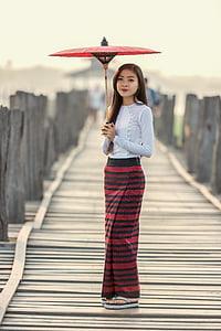 dáždnik, móda, zariadenie, Ázia, Barma, krásna, keď, kedy