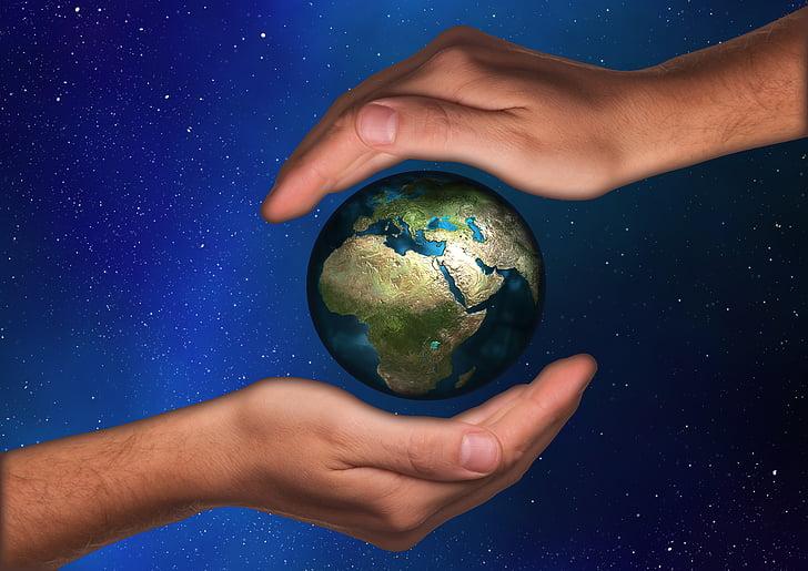 protection, protéger, main, poignée de, Terre, Globe, monde