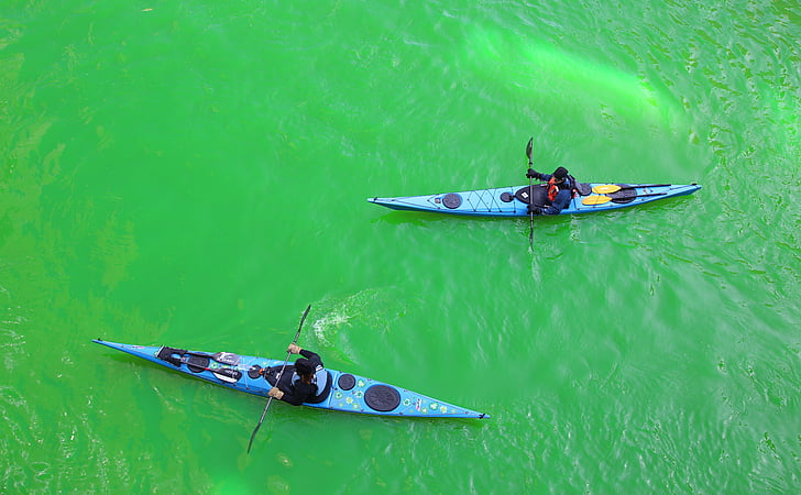 Chicago, Chicago river, St patrick's day, Downtown, City, vand, Sport