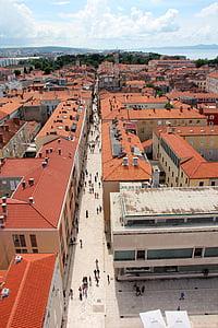 Kroatien, Zadar, från ovan, gamla stan, Dalmatien, kyrkan, historiska gamla stan