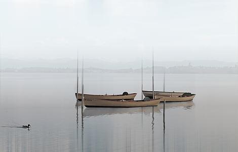 båtar, sjön, Haze, dimma, vatten, naturen, tyst