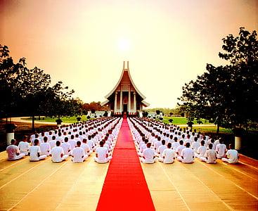 budisme, budistes, pregant, meditació, molts, religió, creença