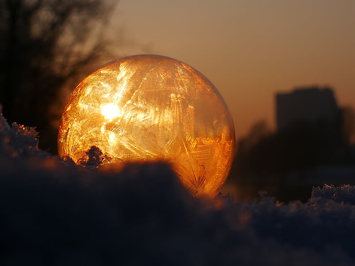 soap bubble, frozen, frost, winter, eiskristalle, wintry, cold